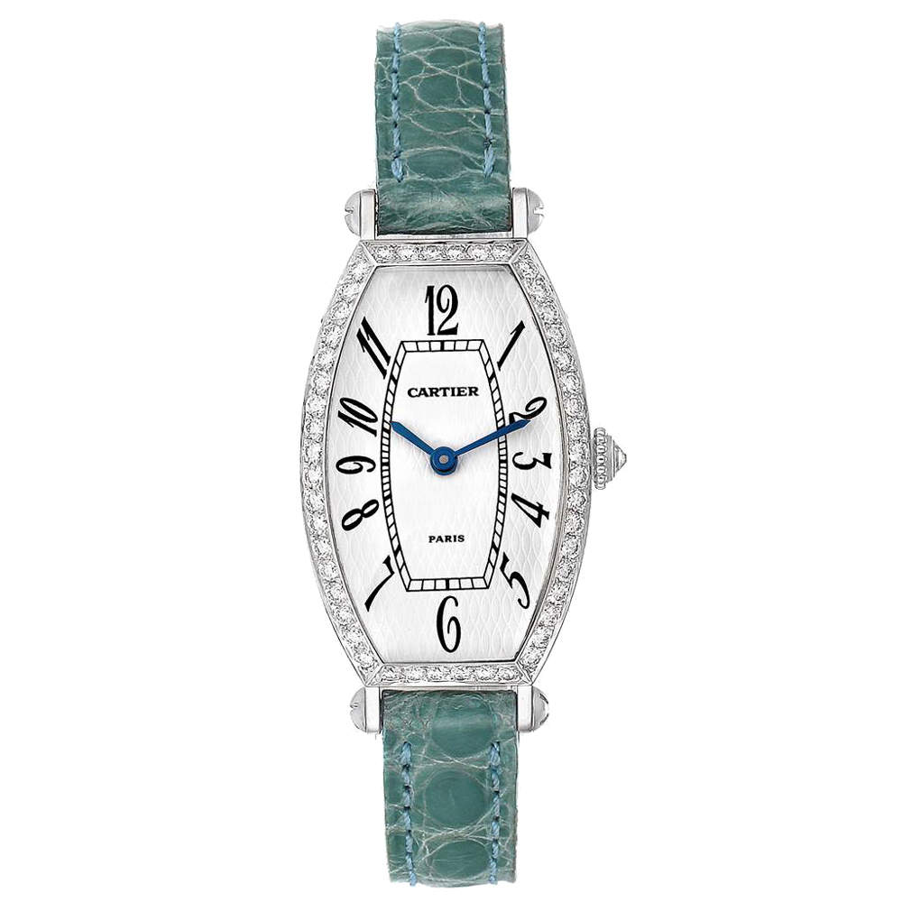 Cartier White Diamonds 18K White Gold Tonneau WE400131 Women's Wristwatch 39 x 21 MM
