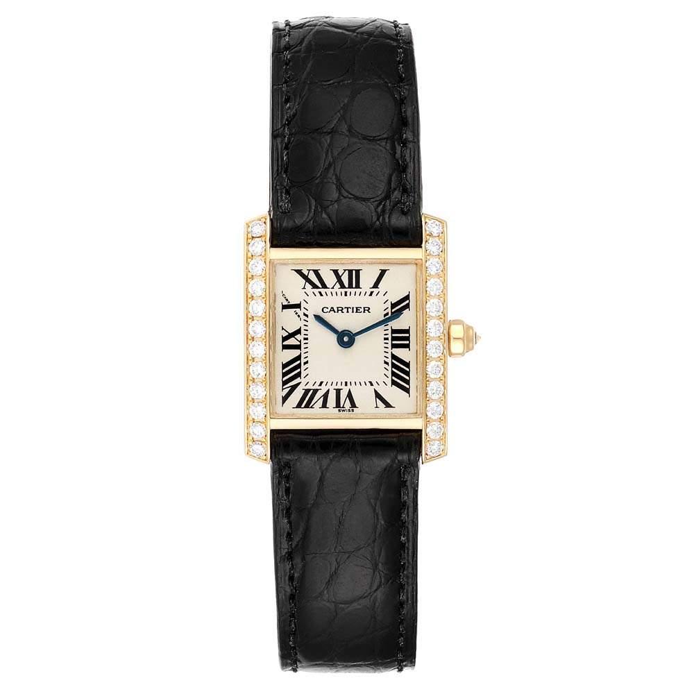 Cartier Silver Diamonds And 18K Yellow Gold Tank Francaise WE100131 Women's Wristwatch 20 x 25 MM