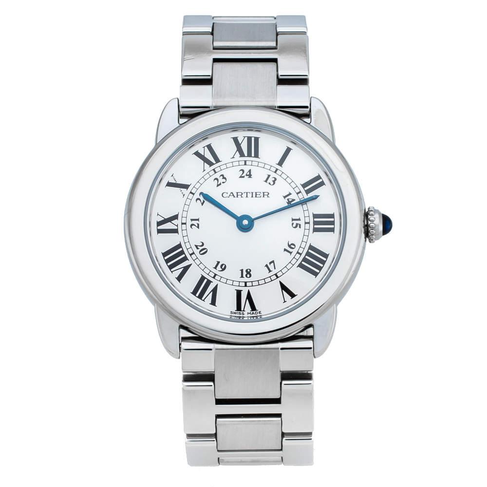 Cartier Silver Stainless Steel Ronde Solo 2933 Women's Wristwatch 29 mm
