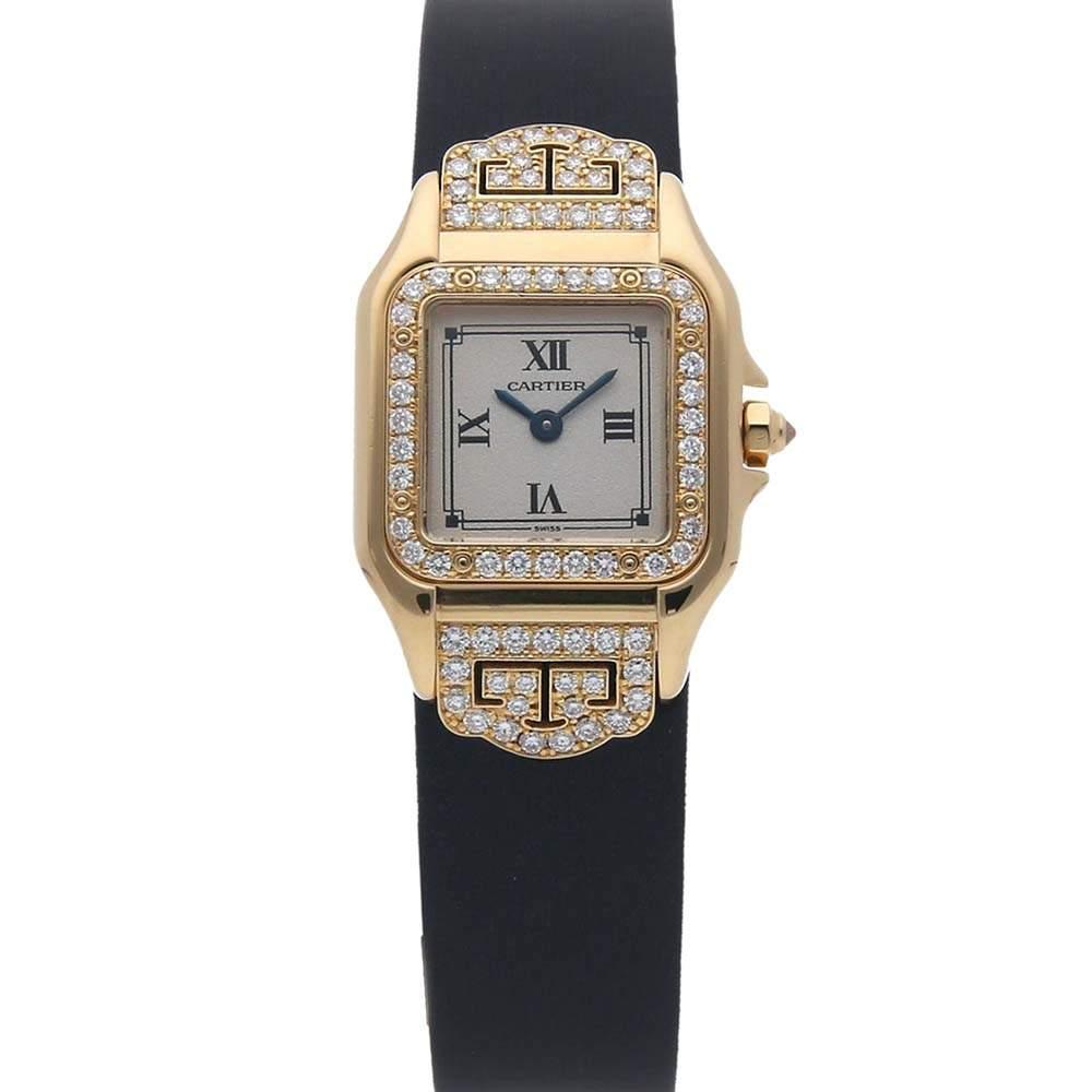 Cartier White Diamonds 18K Yellow Gold Panthere 1280 Women's Wristwatch 22 MM