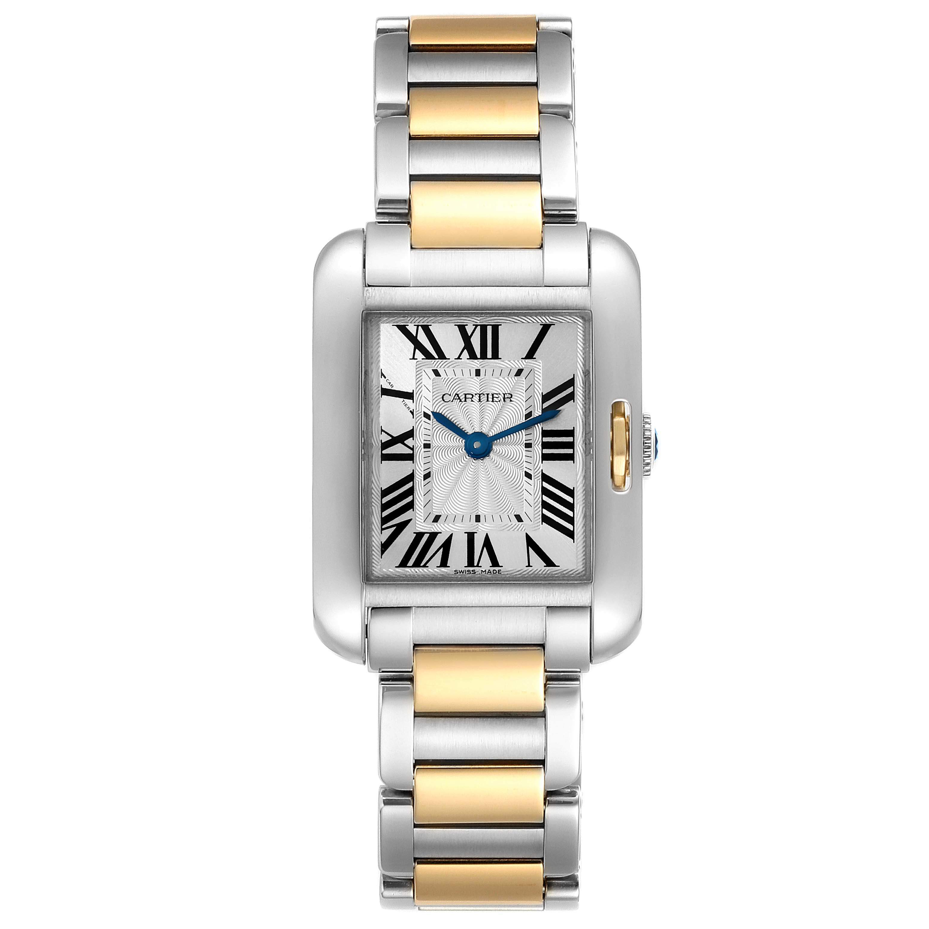 Cartier Silver 18K Rose Gold And Stainless Steel Tank Anglaise W5310019 Women's Wristwatch 30 x 22 MM