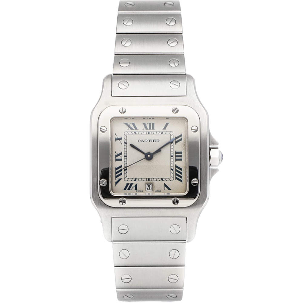 Cartier Silver Stainless Steel Santos Galbee W20018D6 Women's Wristwatch 28.5 MM