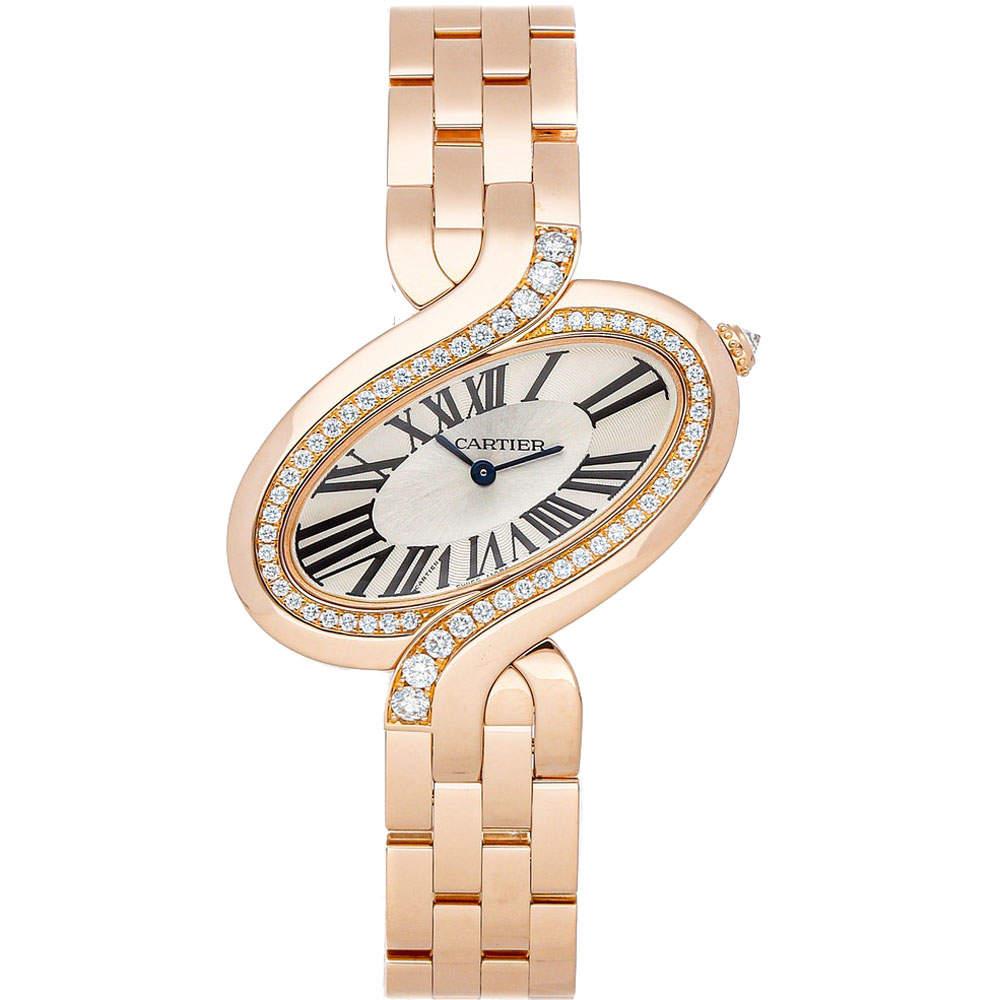 Cartier Silver Diamonds 18K Rose Gold Delices de Cartier WG800006 Women's Wristwatch 43 x 38 MM