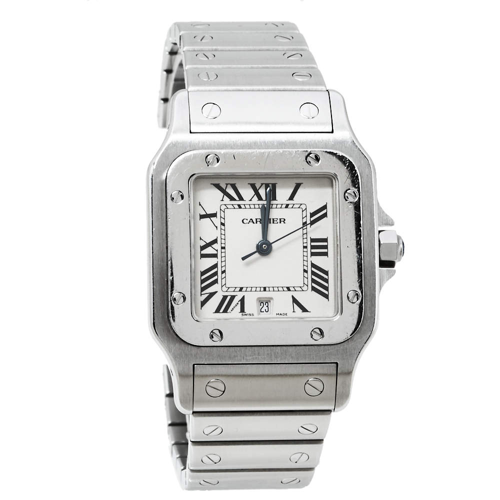 Cartier Cream Stainless Steel Santos 1564 Women's Wristwatch 29MM