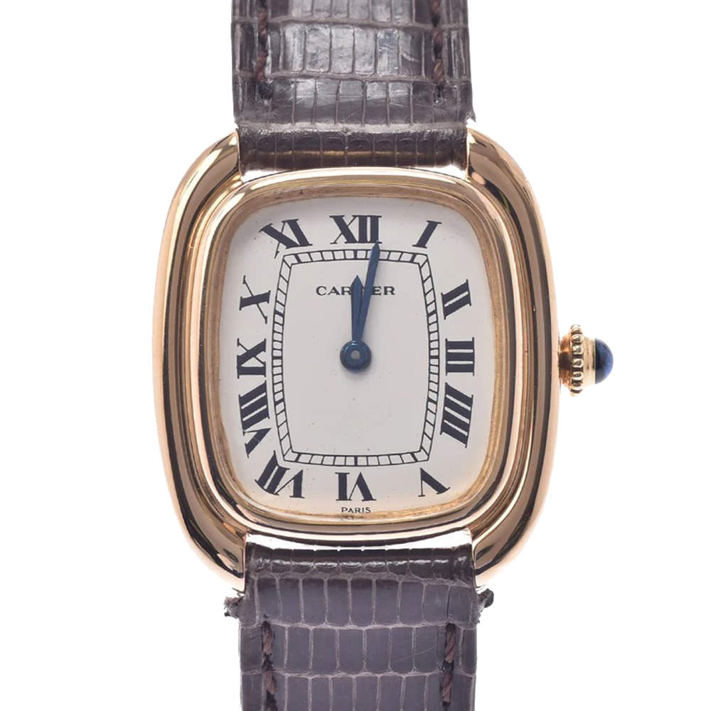 Cartier Silver Yellow Gold Vintage Women's Wristwatch 24 x 27 MM