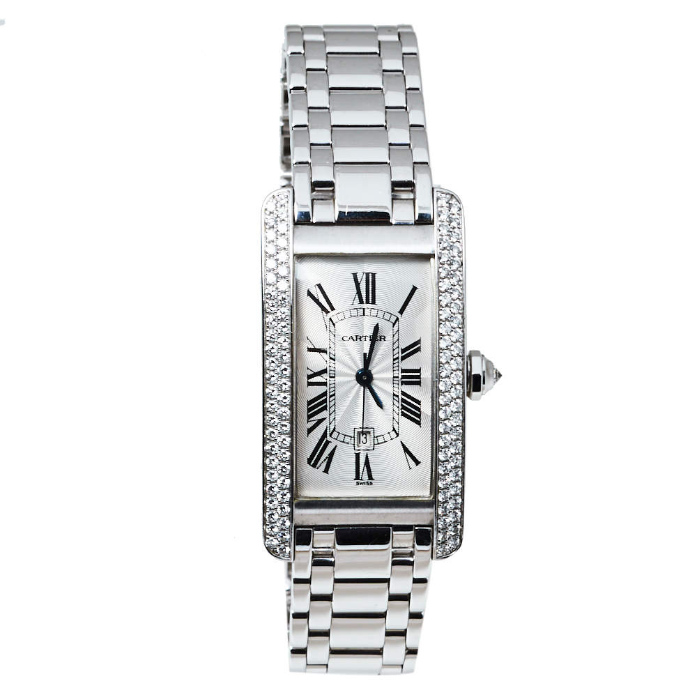 Cartier White Diamonds 18K White Gold Tank Americaine 1726 Women's Wristwatch 22 x 41 MM