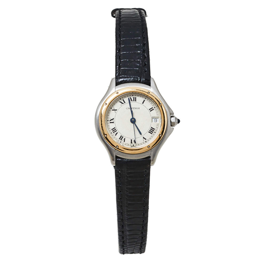 Cartier Cream Stainless Steel Leather Cougar 187906 Women's Wristwatch 26MM