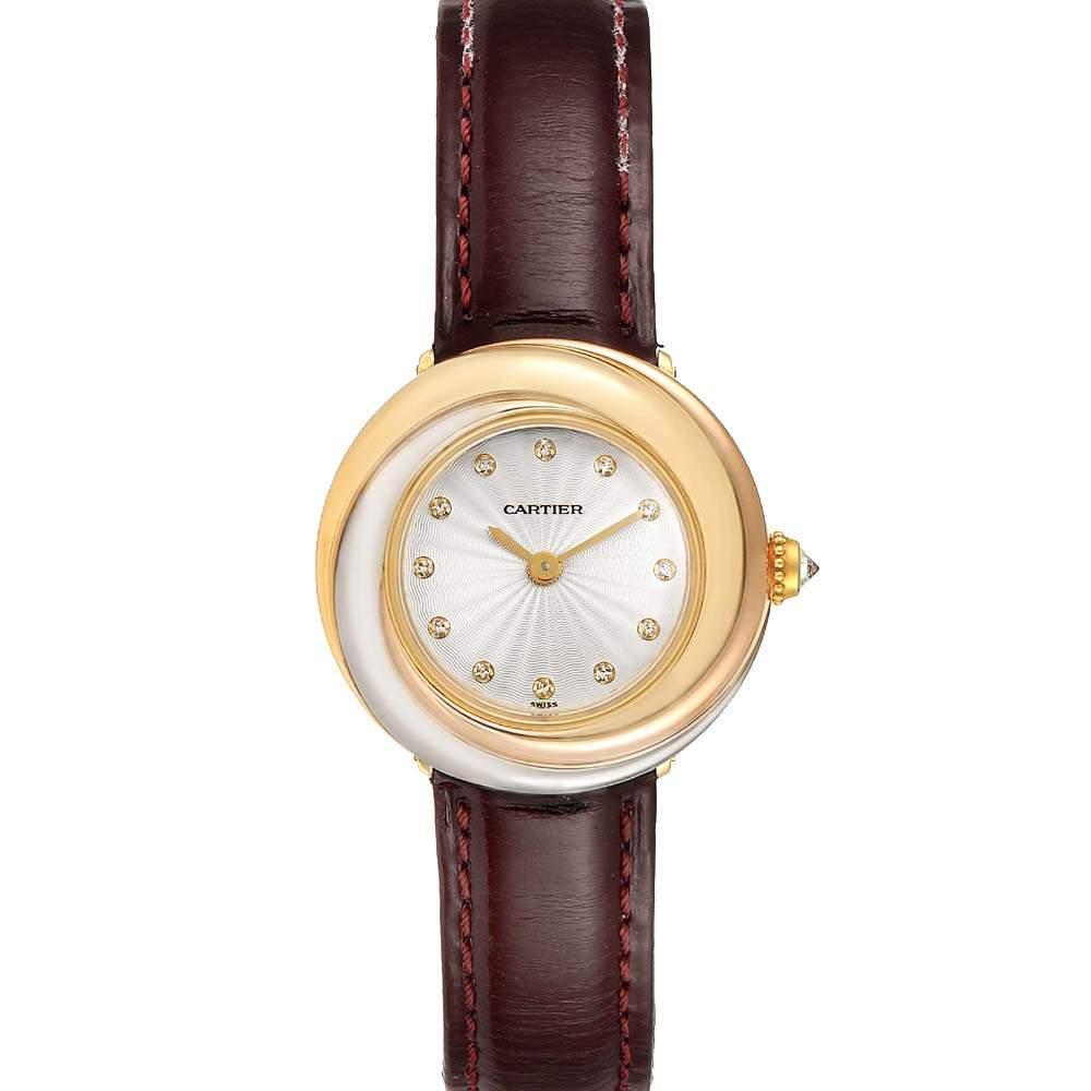 Cartier Ivory Diamonds 18K 3-Tone Trinity W200246 Women's Wristwatch 30 MM