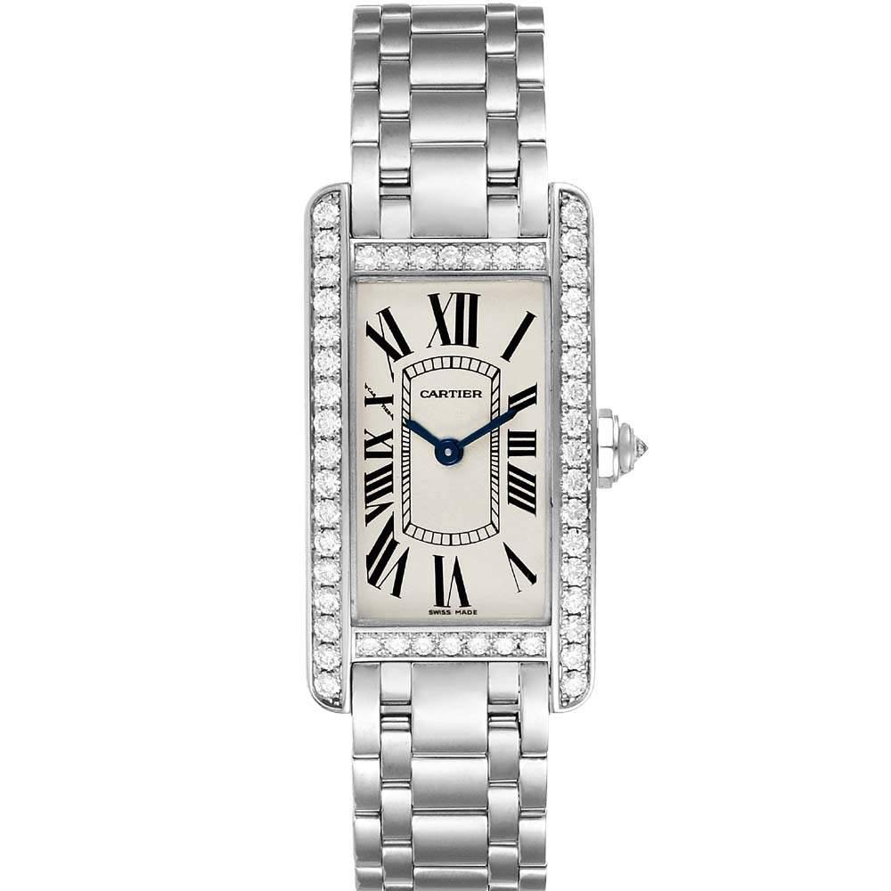 Cartier Silver Diamonds 18K White Gold Tank Americaine WB7073L1 Women's Wristwatch 19 x 35 MM