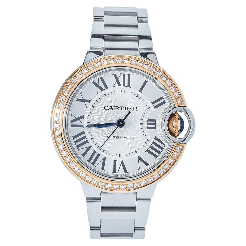 Cartier Silver 18K Rose Gold & Stainless Steel Diamonds Ballon Bleu Automatic Women's Wristwatch 33 mm