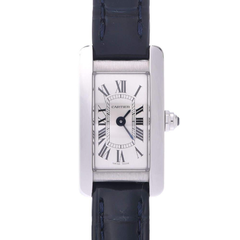 Cartier White Stainless Steel Tank Americaine Wsta0032 Quartz Women's Wristwatch 15 MM