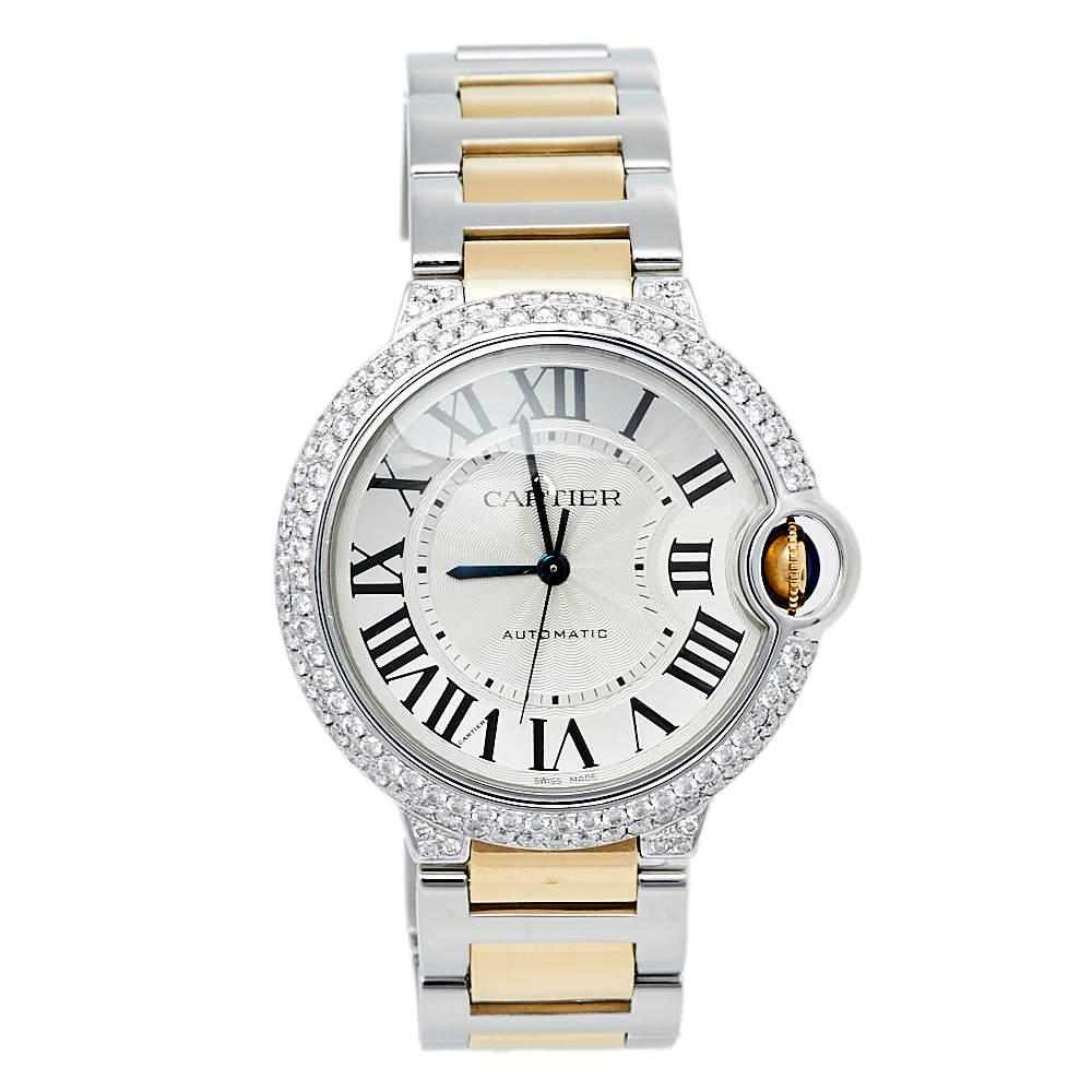 Cartier Silver 18K Yellow Gold & Stainless Steel Ballon Bleu De Cartier 3284 Women's Wristwatch 36 mm