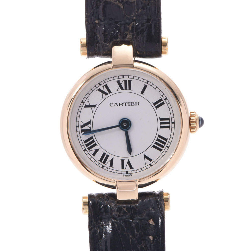 Cartier White 18k Yellow Gold Mini Vendome Quartz Women's Wristwatch 19 MM