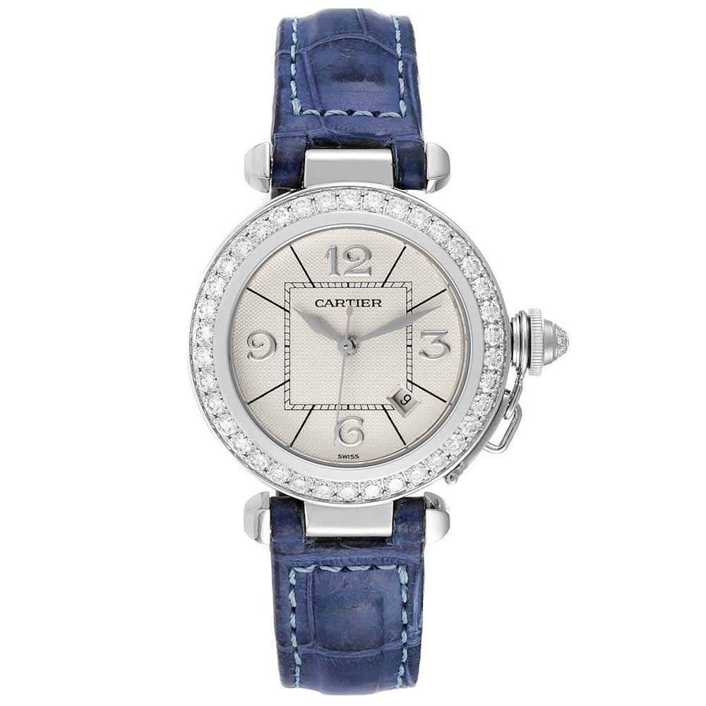 Cartier Silver Diamonds 18K White Gold Pasha WJ111651 Women's Wristwatch 32 MM