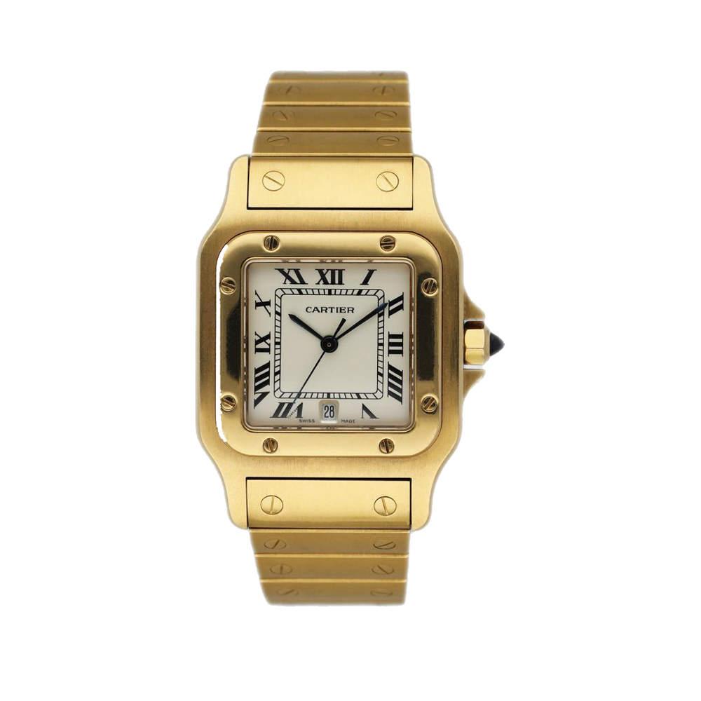Cartier Silver 18K Yellow Gold Santos Galbee 887901 Women's Wristwatch 30 MM