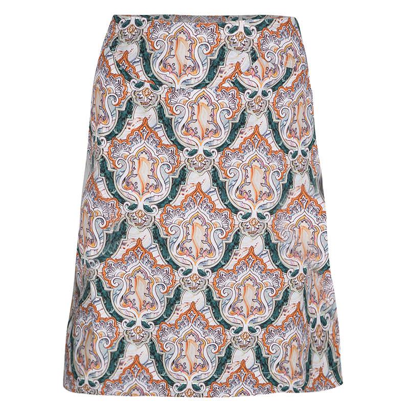 Carven Multicolor Printed Cotton Poplin Skirt M