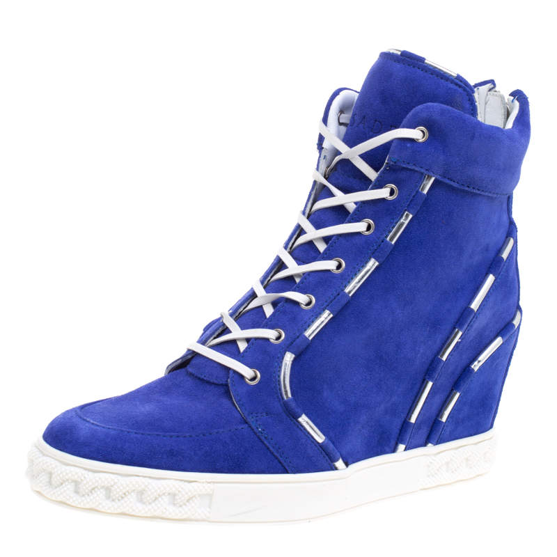 Casadei Blue Suede High Top Sneakers Size 38