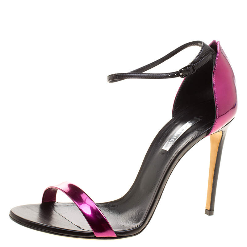 Casadei Metallic Magenta and Black Leather Candylux Ankle Strap Open Toe Sandals Size 41