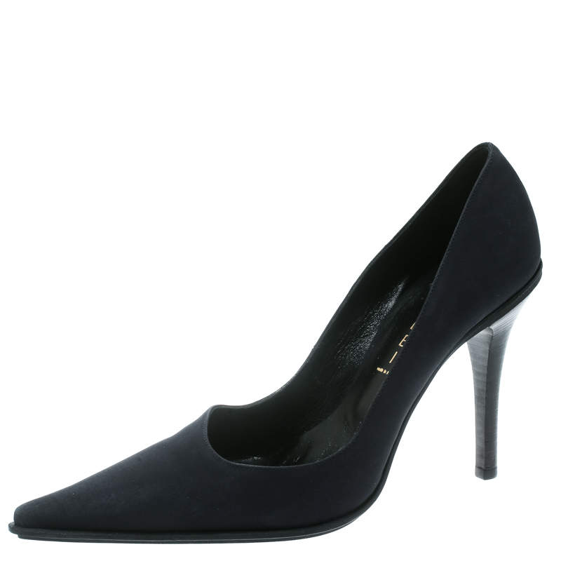 Casadei Navy Blue Satin Pointed Toe Pumps Size 38.5