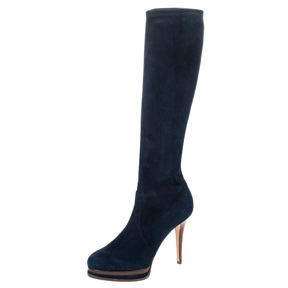 Casadei Blue Suede Knee High Platform Slip On Boots Size 38.5