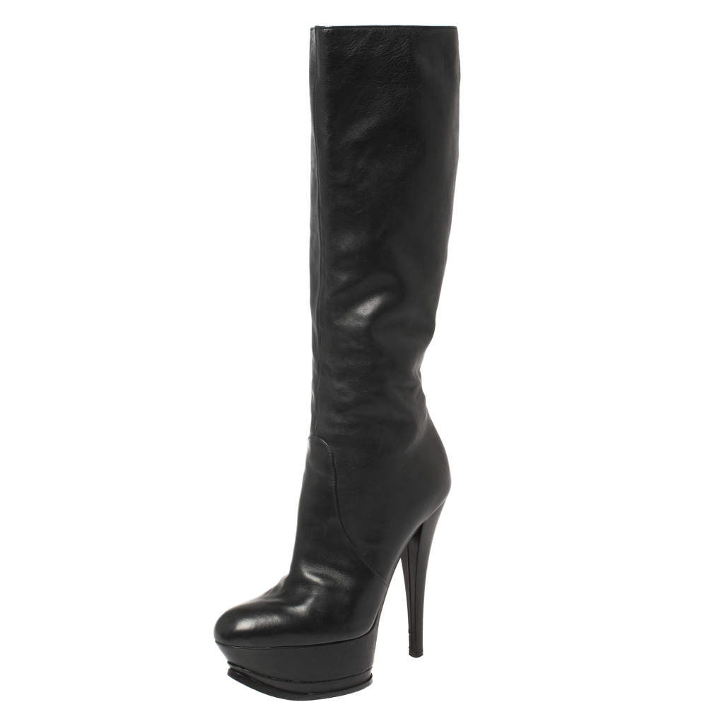Casadei Black Leather Platform Mid Length Boots Size 37.5