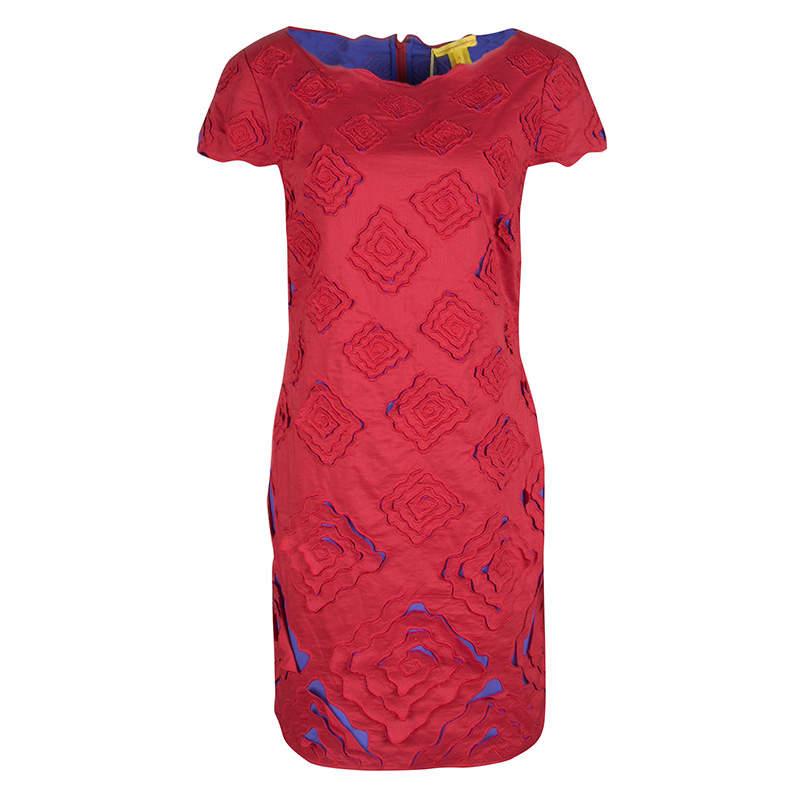 Catherine Malandrino Red And Purple Cutout Embroidered Cardinal Dress S