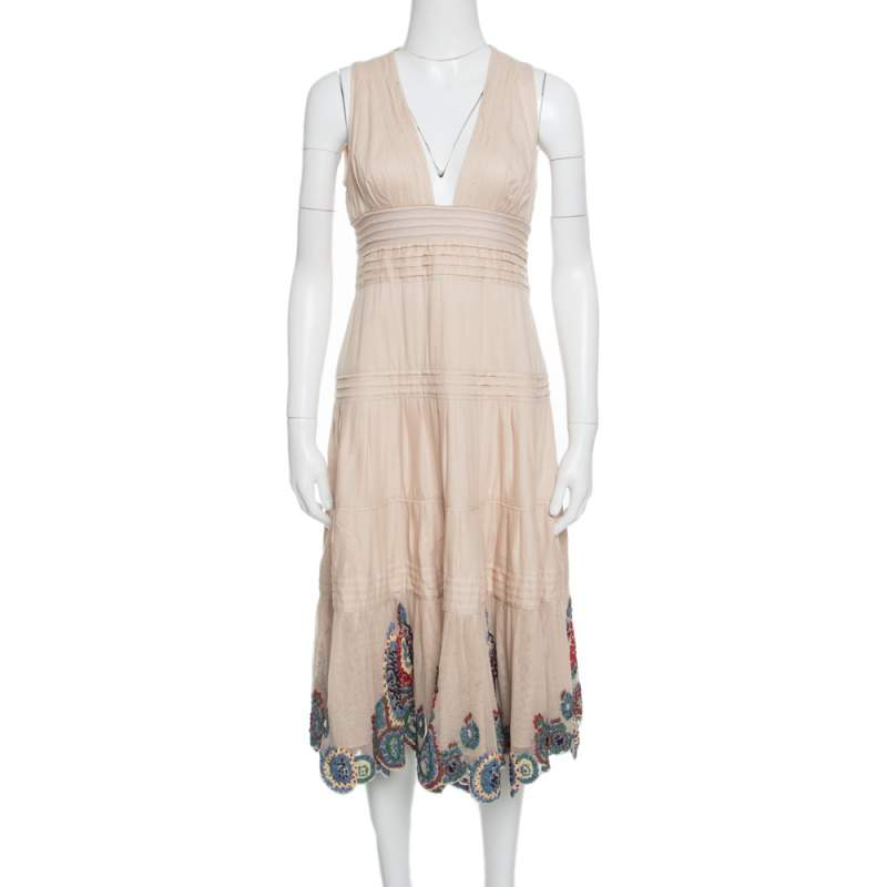 Catherine Malandrino Beige Pintuck Detail Embroidered Hem Maxi Dress M