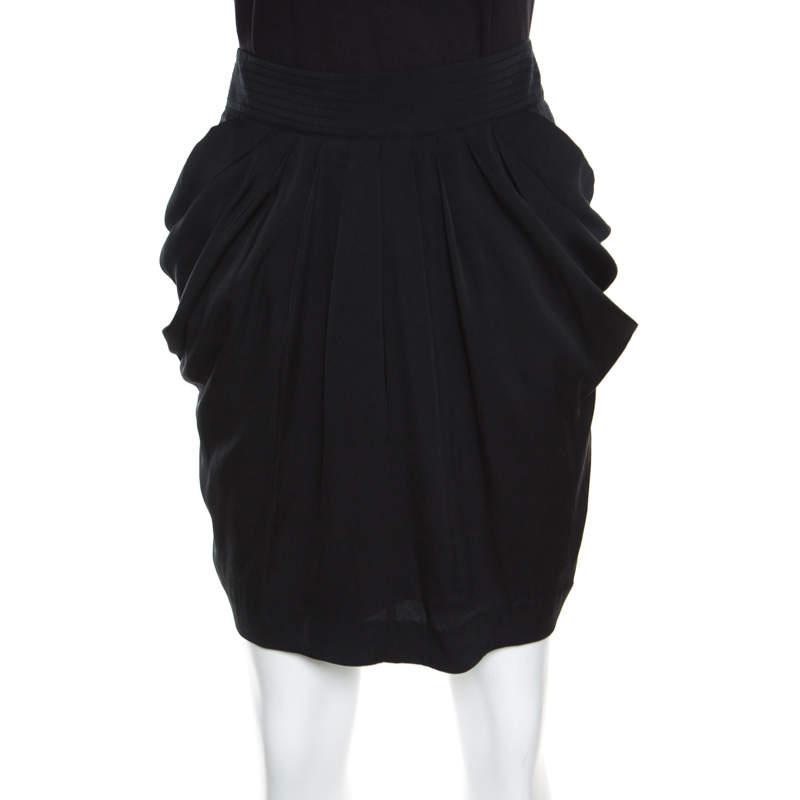 Catherine Malandrino Black Silk Pleat Front Pegged Mini Skirt M