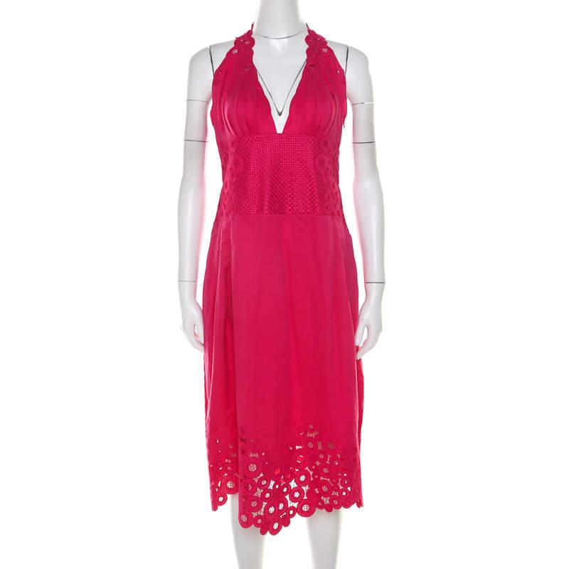 Catherine Malandrino Pink Cotton Eyelet Trim Detail Halter Dress M