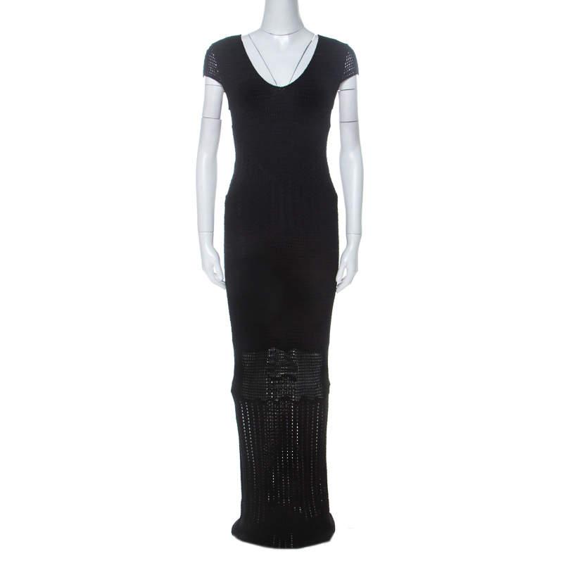 Catherine Malandrino Black Crochet Knit Short Sleeve Maxi Dress S