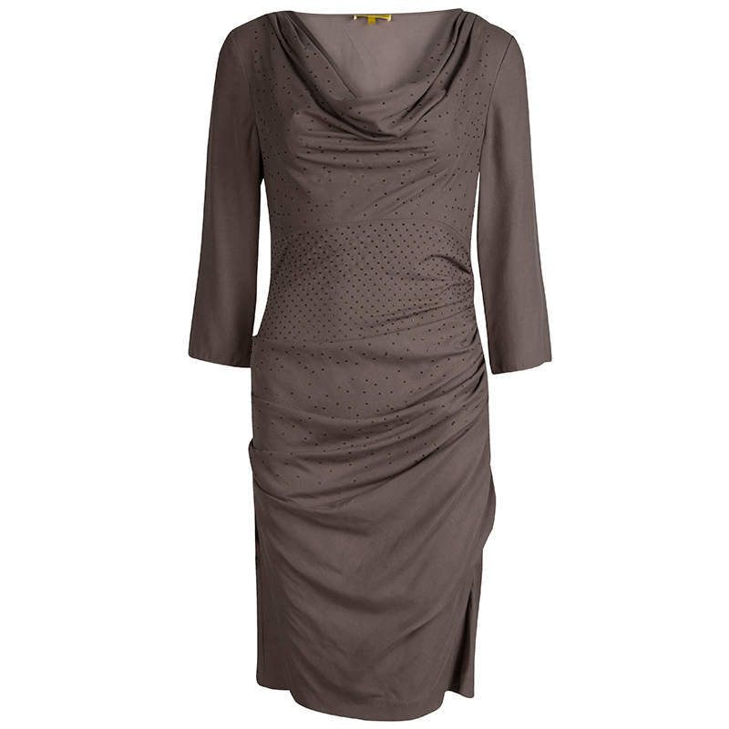 Catherine Malandrino Brown Silk Ruched Cowl Neck Embellished Dress S