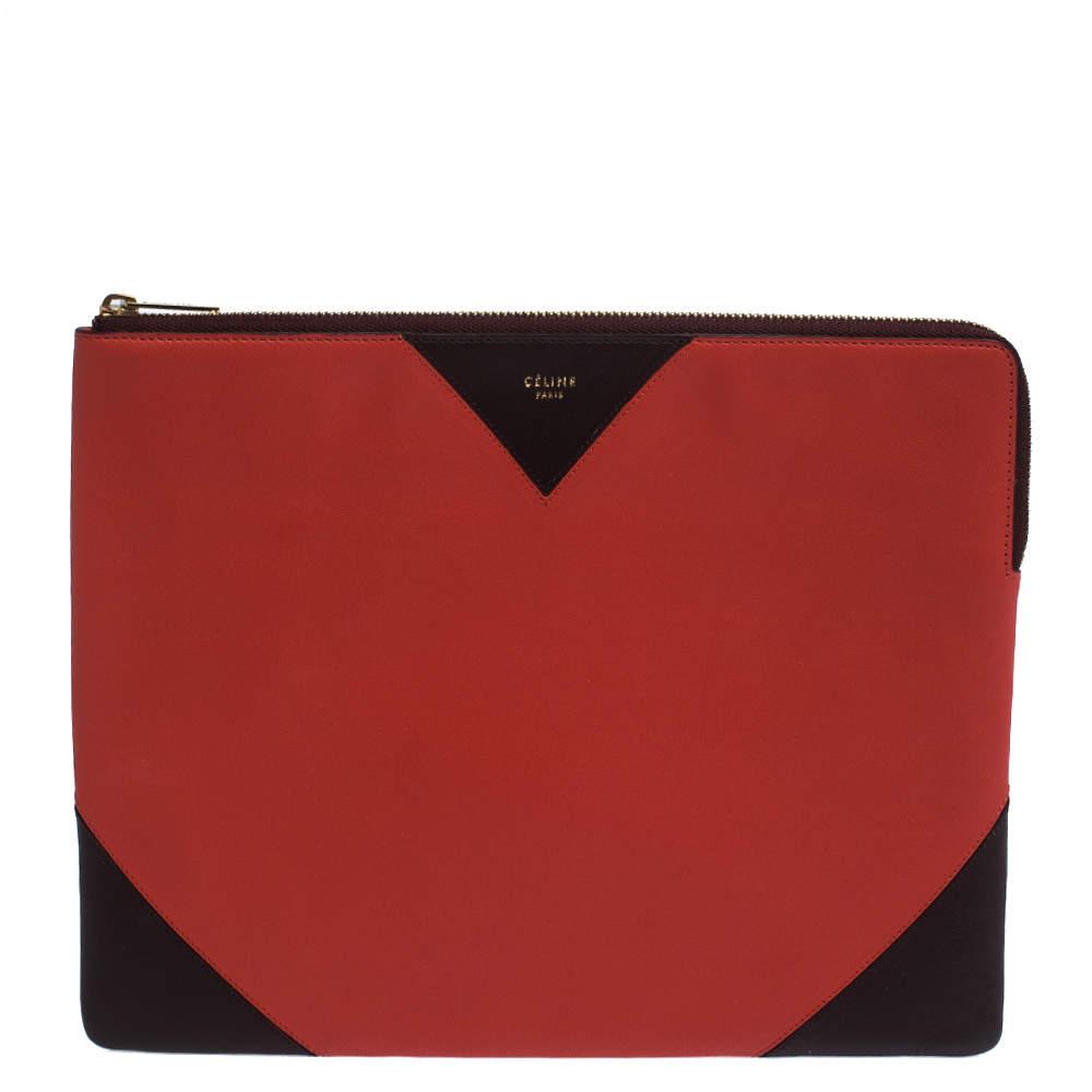 Celine Orange/Maroon Leather iPad Vermillon Zip Pouch