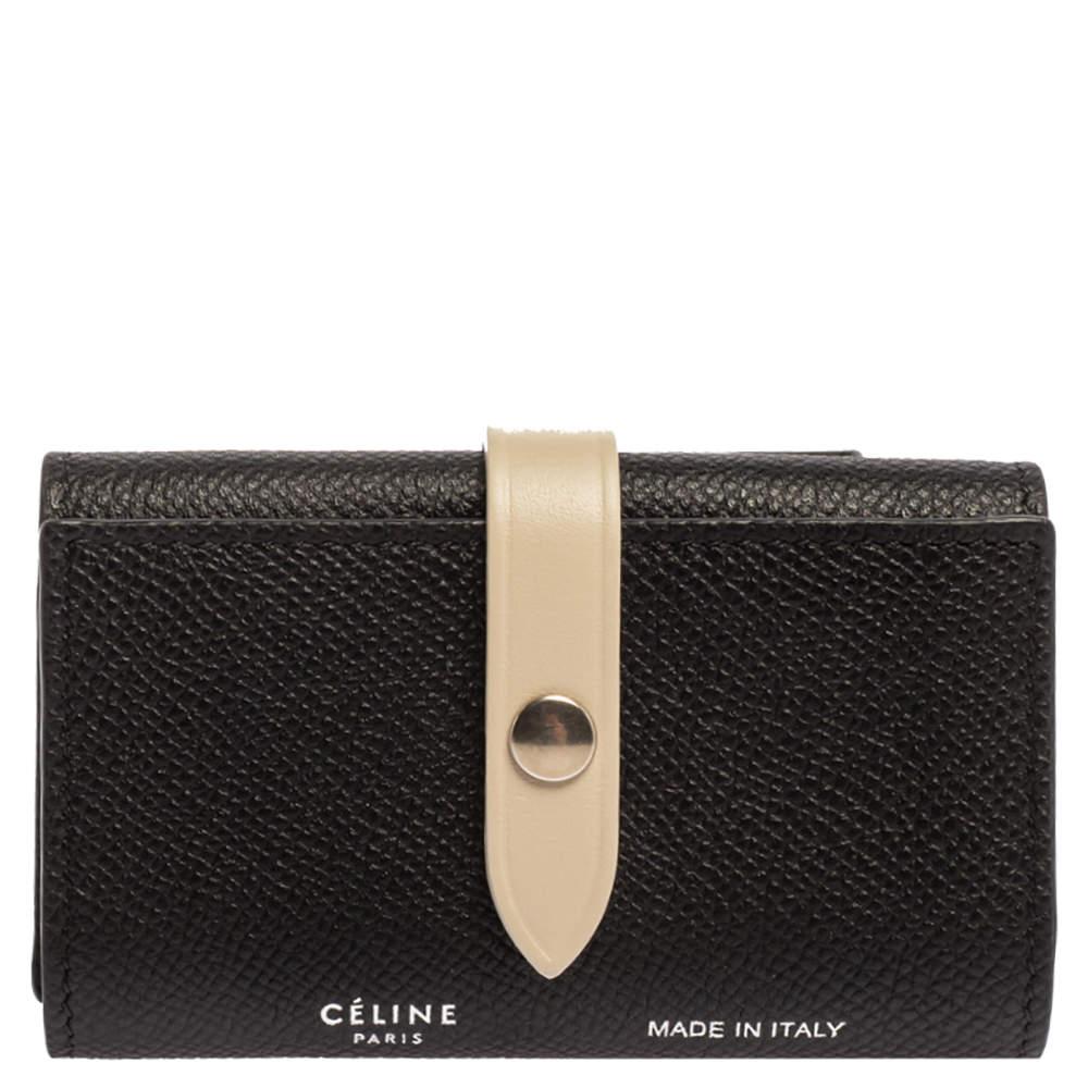 Celine Black/Ivory Grained Leather Strap Key Case