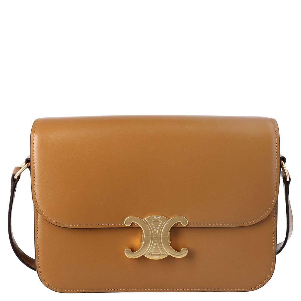 Celine Brown Leather Medium Triomphe Shoulder Bag