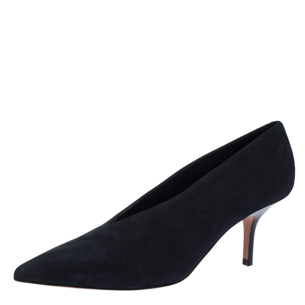 Celine Black Nubuck Leather V-Neck Pointed Toe Pumps Size 38