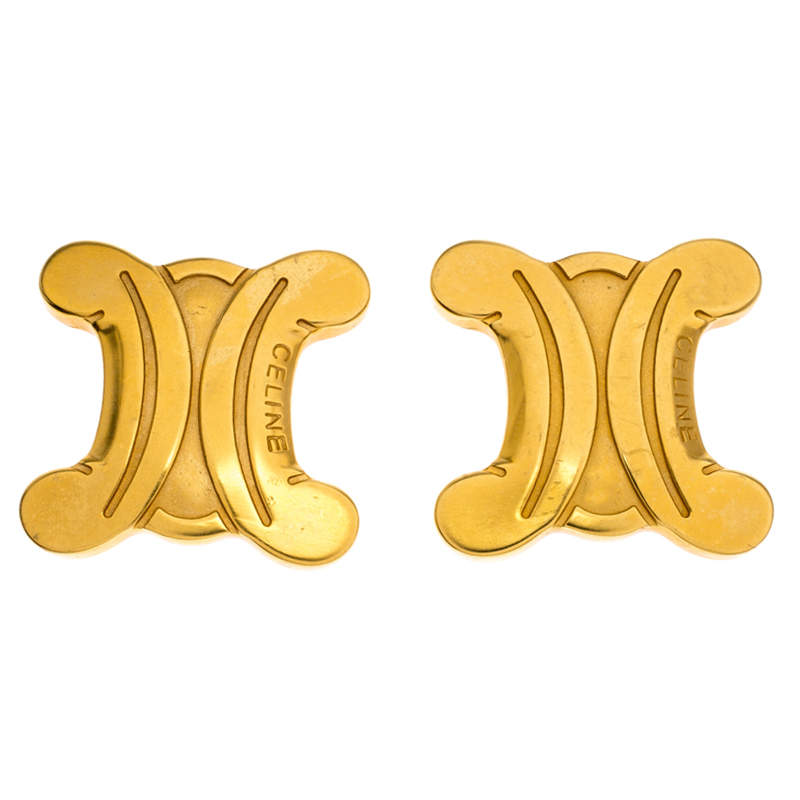 Celine Gold Metal Tone Clip On Earrings