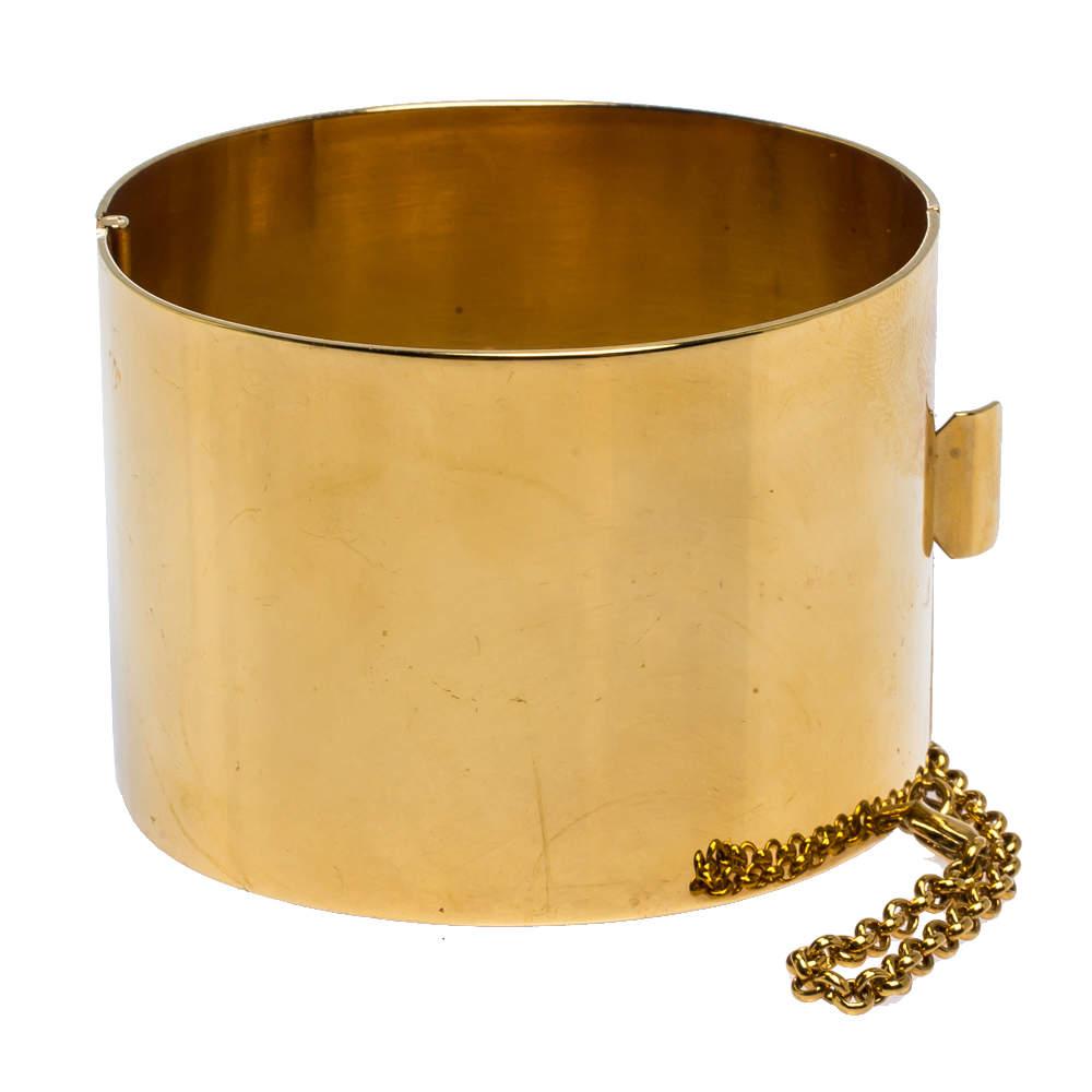 Céline Gold Tone Wide Cuff Bracelet