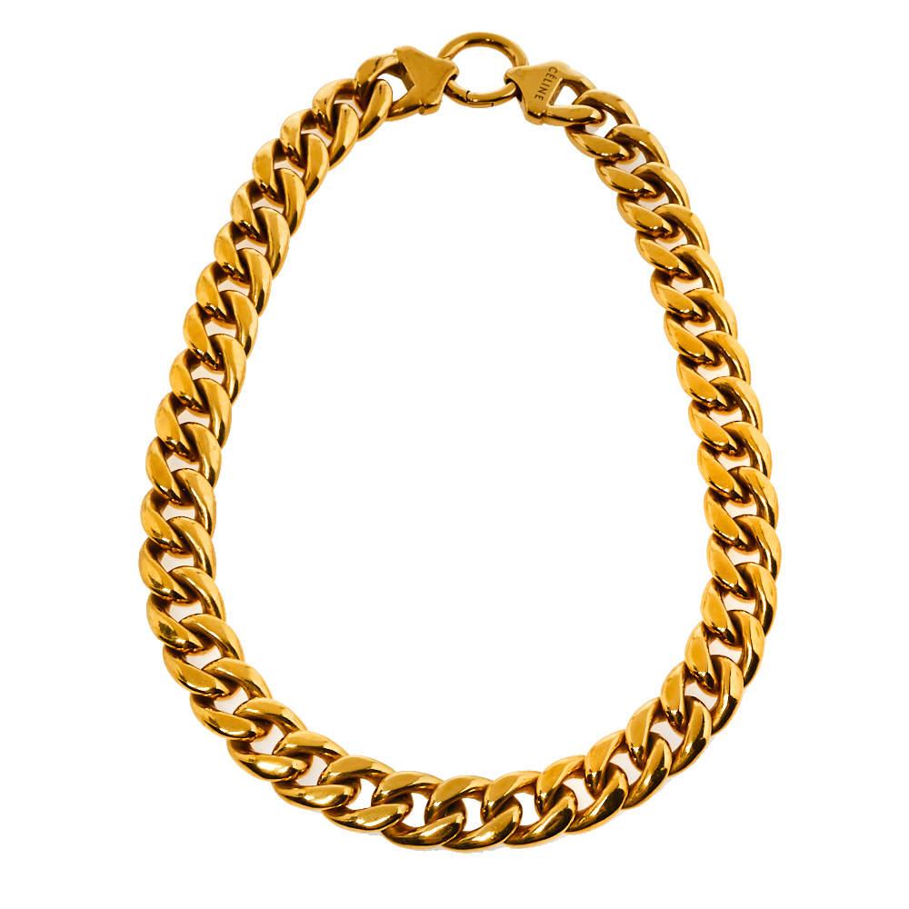 Céline Gold Tone Chunky Curb Chain Choker Necklace L