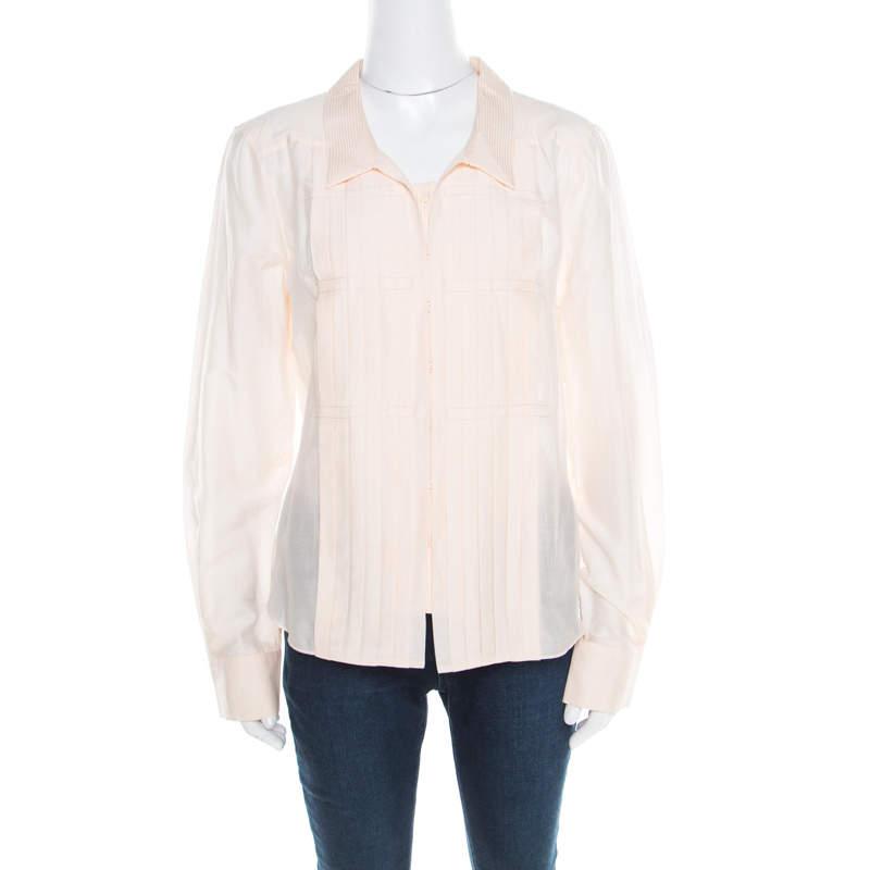 Celine Peach Cotton and Silk Pleat Detail Long Sleeve Shirt L