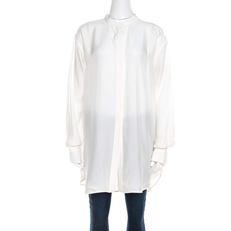 Celine White Silk Button Front Loose Fit Shirt M