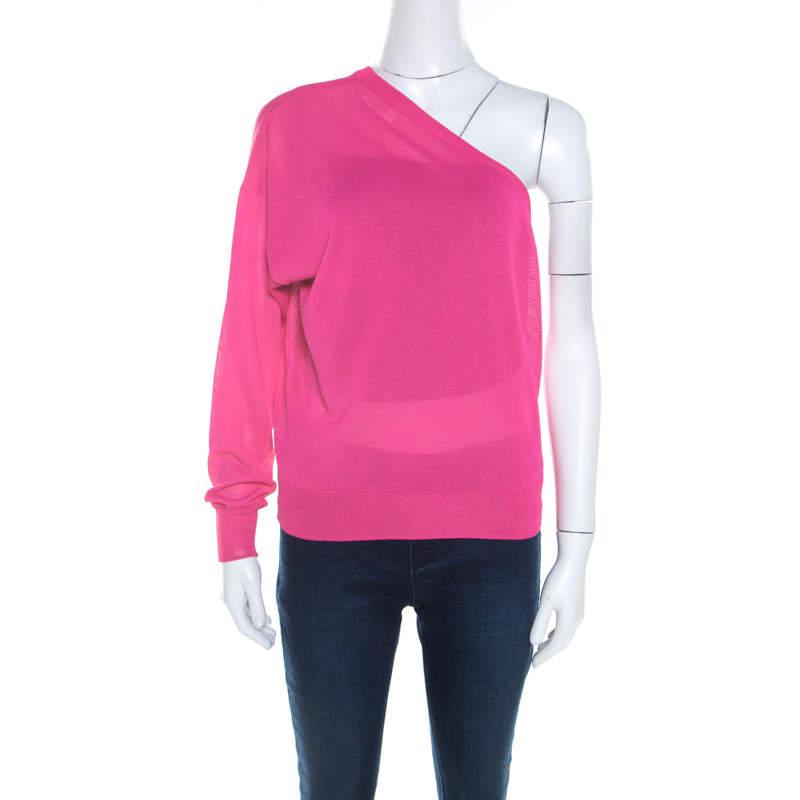 Celine Hot Pink Ribbed Knit One Shoulder Top M