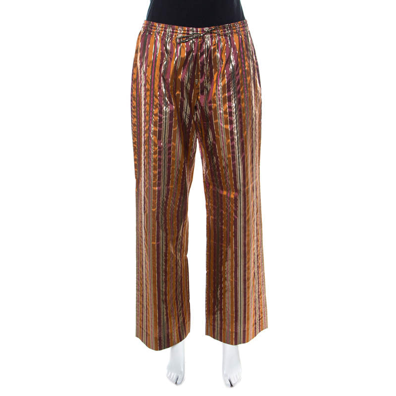 Celine Brown Metallic Striped Silk Straight Fit Trousers L