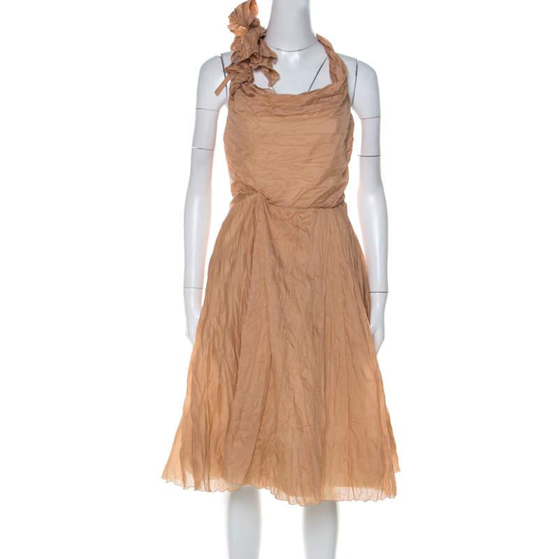 Céline Dusky Orange Silk Blend Ruched Detail Halter Neck Dress L