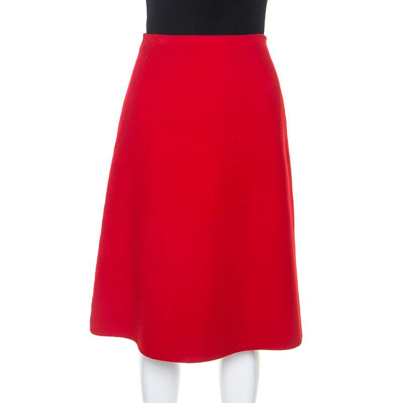 Celine Red Fleece A-Line Skirt S