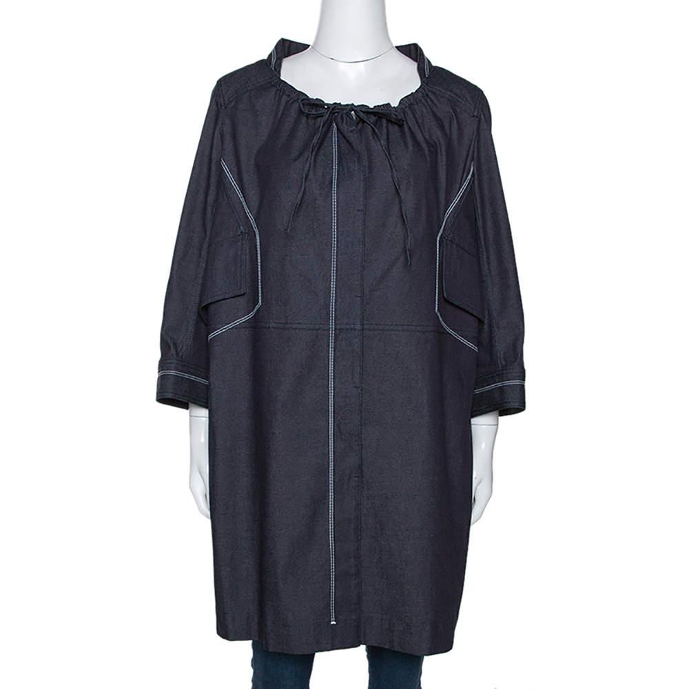 Celine Navy Blue Denim Button Front Tunic Jacket L
