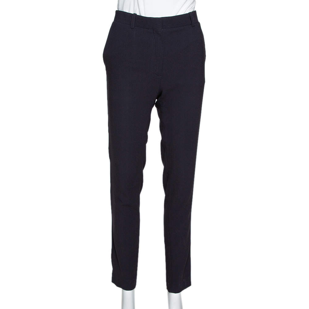 Celine Navy Blue Crepe Tailored Trousers S