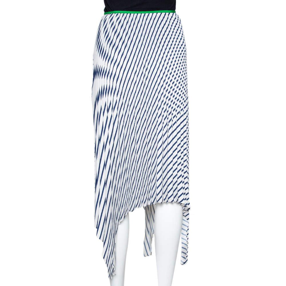 Celine Navy Blue Striped Silk Handkerchief Hem Pleated Skirt S