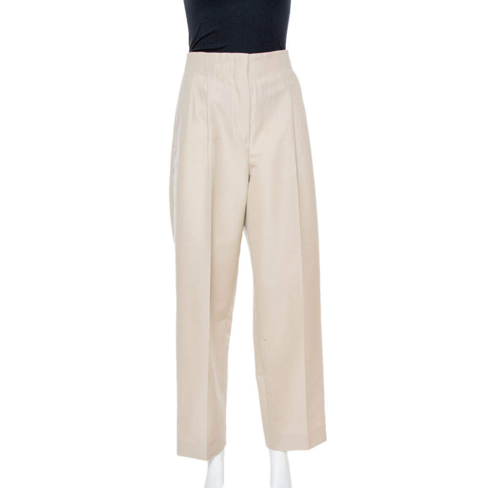 Celine Beige Wool High Waist Trousers S