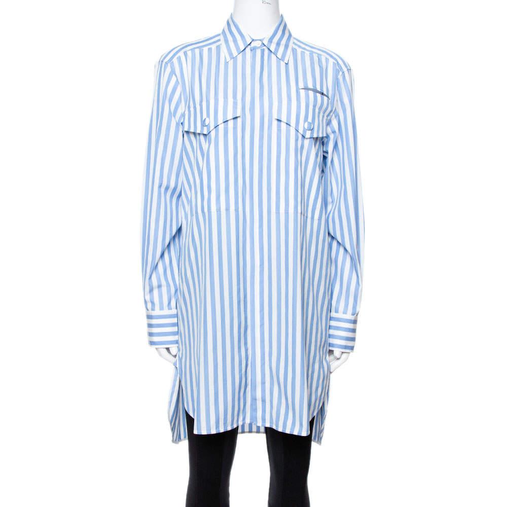 Celine Blue & White Striped Cotton Button Front Tunic S