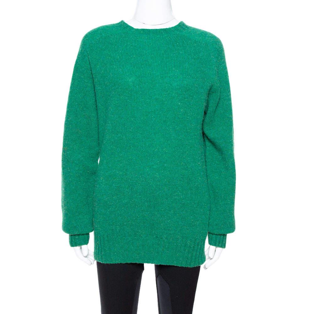 Celine Green Wool Knit Crew Neck Sweater S